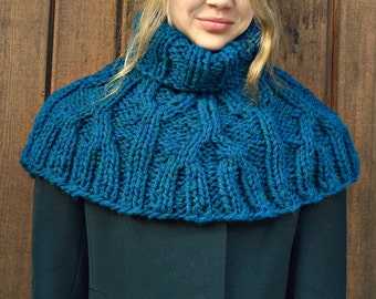 Cozy Blue Wool Cable Chunky Knit Capelet Cowl