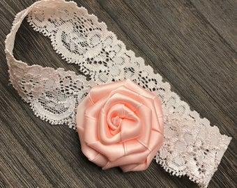 Pink Satin Rose Lace Headband