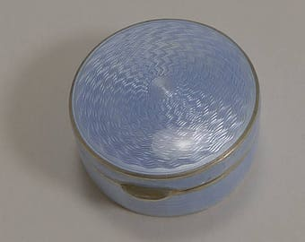 Stunning Antique Austrian Sterling Silver and Lilac Guilloche Enamel Pill Box