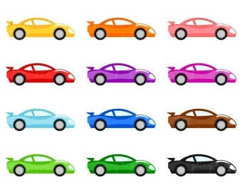 70% OFF Colorful Racing Car Cliparts, Colorful Racing Car Clipart Graphics, Personal & Small Commercial Use, Instant Download