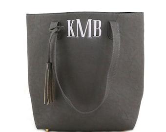 Monogram Tassel Tote -Grey - Shoulder Bag