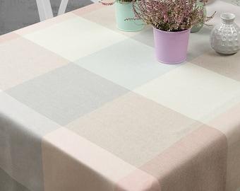 Linen/Cotton Tablecloth, Pastel Colors linen table top, Linen table cover