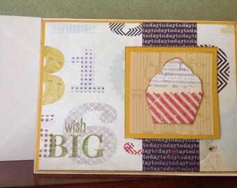 Cupcake Birthday Card- birthday wishes- Happy Birthday-