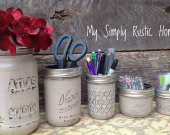 Mason Jar Desk Set-Desk Set-Mason Jar Office-Desk Organizer-Desk Set-Mason Jar Office Set-Office Set-Desk Decor- Desk Set-Atlas Jar