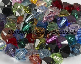 Swarovski Crystal Beads 250pcs 5301/5328 LOT Assorted Mix of Colors 4MM Faceted Bicone Beads