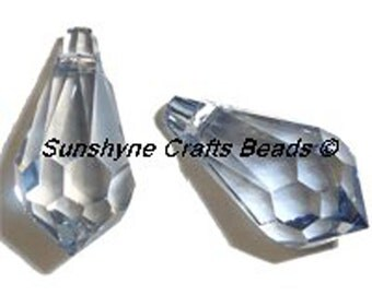 Swarovski Crystal Beads 6000 2pcs CRYSTAL BLUE SHADE Teardrop Faceted Pendant - Sizes 11mm, 13mm & 15mm available