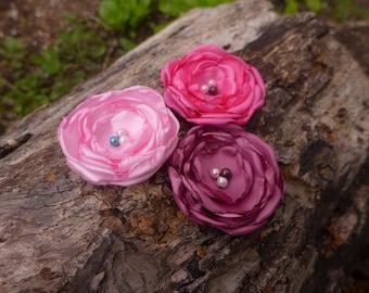 Handmade satin flower hairclip * Bubblegum pink * Fuchsia pink * Wine