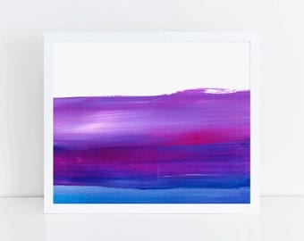 Horizontal Purple and Blue Painting, Printable, 10 x 8, Digital Download, Abstract Paint Strokes
