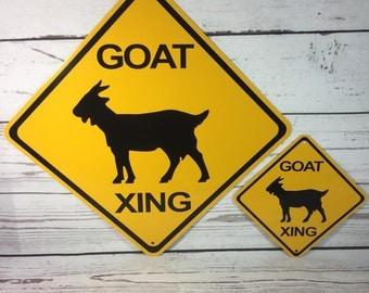 "Goat Xing Metal Yellow Farm Caution Crossing Sign 6""x 6"" or 12""x12"" NEW (2 sizes available)"