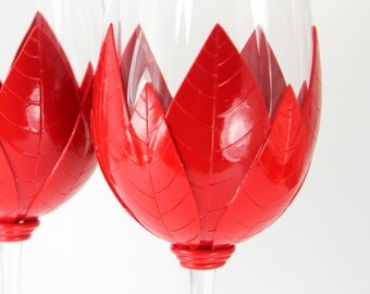 Deep Red Wine Glasses, Red Christmas Glasses, Custom Wine Glasses, Christmas Gift, Wedding Gift ,Handmade Wine Glasses, Unique Wine Glasses
