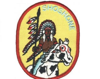 "Shoshone ""Indian"" Patch - Native American with Headdress and Horse"