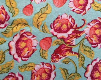 Tula Pink Eden - Lotus in Tomato  - 1/2 yd cotton woven fabric.