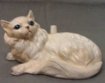Beige Cat Sitting with Blue Eyes Maroon Nose and Mouth with knob for Ring Holder or Thread Holder on  Back Cat Figurine
