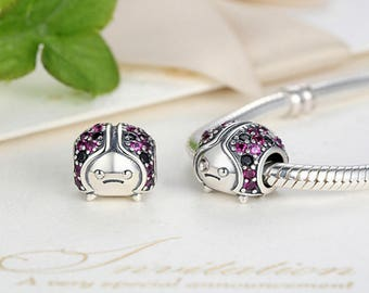 Sterling 925 silver charm ladybug bead pendant fits Pandora charm and European charm bracelet