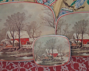Beautiful Vintage Set of 3 Hot Pads Protectors Trivets Winter Farm Scene