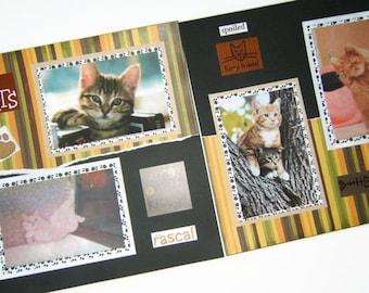 Cat Scrapbook Pages - Kitten Scrapbook Pages - Premade Cat Pages - Premade Kitten Pages - Cat Scrapbooking -  Kitten Scrapbooking - Pet page