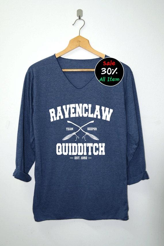 Ravenclaw Quidditch Shirt Harry Potter Shirts V-Neck Navy Blue