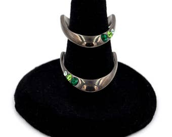 Stainless Steel Geometric Negative Space Cuff Style Green Crystal Statement Ring