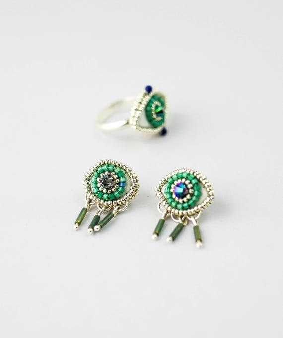 Silver embroidered earrings with glass beads and crystal