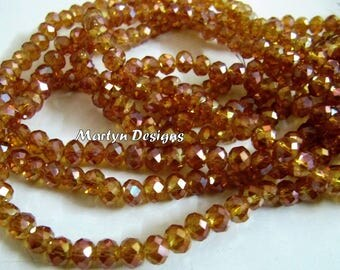 AAA Quality Titanium Coated Hydro Quartz 6mm Size Beads , Mystic Coated Hessonite Rondelle Faceted Beads , approx. 100 Beads per Strand.