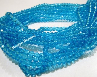 Top and Finest Quality Sky Blue Topaz Rondelle Faceted Beads , 100 Beads approx per Strand , Size 4mm , Sky Blue Hydro Quartz Faceted Beads