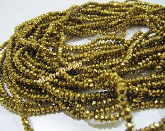 Top Quality Golden Pyrite Color Beads , 3mm Size Beads, Rondelle Faceted Gold Coated Beads, Hydro Quartz Beads , 150 Beads approx per Strand