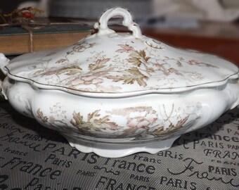 Antique (c.1890) J&G Meakin Autumn Tints covered, handled vegetable serving bowl   tureen. Brown, pink florals, gold edge, embossed details.