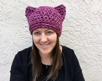 Pink Pussycat Hat, Pink Cat Hat, Pink Pussyhat Project, Purple Cat Hat, March on Washington, Cat Beanie, Knit Cat,  Adult Crochet Beanie