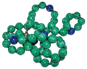 Kenneth Lane Faux-Jade & Lapis Necklace