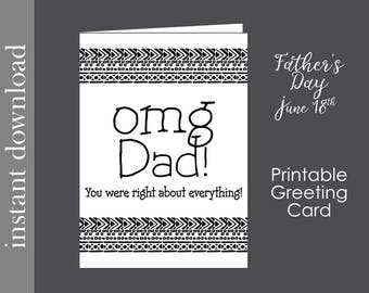 Father's Day card, printable dad card, funny dad card, dad birthday card, card download, card for dad, snarky dad card, last minute card