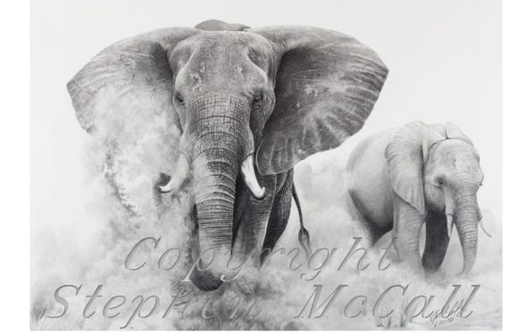 Giclee Fine Art Print Of Original Elephants In The