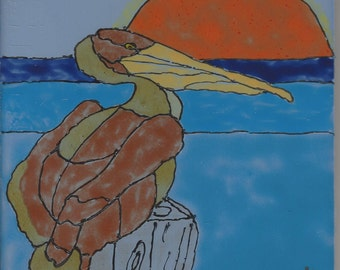 Pelican #203 Hand Painted Kiln Fired Decorative Ceramic Wall Art Tile 6 x 6
