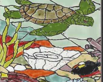 Turtle Reef #202 Hand Painted Kiln Fired Decorative Ceramic Wall Art Tile 8 x 6