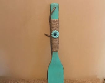Aqua Wooden Spoon; Painted and Distressed Aqua Wooden Spoon; Rustic Wooden Spoon; Aqua Wooden Spoon Wrapped in Jute