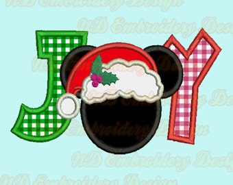 JOY Mickey Applique Design, Santa claus Christmas Machine Embroidery,   ms-122