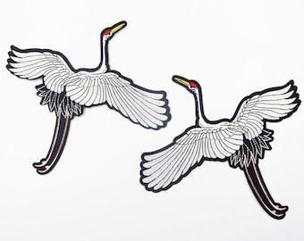 A pair of Cranes Patch , Crane Embroidered Patch,Crane Applique for Garment