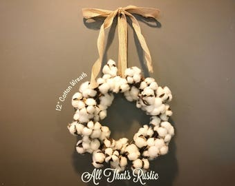 Mini Cotton Wreath, Cotton Wreath, Farmhouse Decor, Cotton Stems, Cotton Decor, Rustic Home Decor, Wreaths, Wall Decor, Rustic Wall Decor