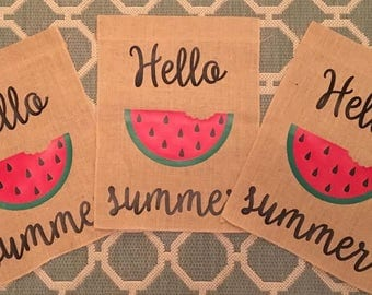 Hello Summer Watermelon One-Sided Burlap Garden Flags