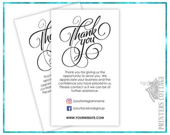 Thank You Cards - Package Inserts – Thank You for your Order Cards - Shipping Inserts - TYBC-004