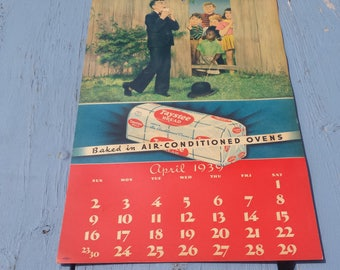 Taystee Bread Calendar April 1939 Little Rascals Our Gang Buckwheat Spanky Alfalfa