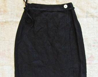 Vintage DAVID DARI Black Linen Mini Wrap Skirt Size S