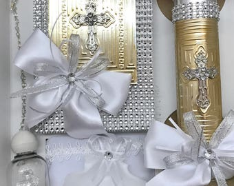 First communion and baptism candle set