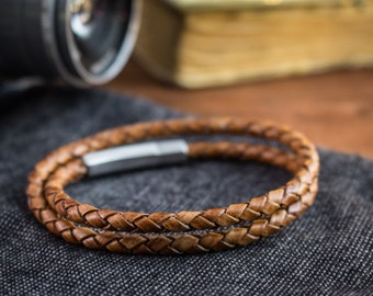 Double wrap Antiqued Brown genuine leather braided cord bracelet, mens bracelet, leather bracelet, cord bracelet, scrambler bracelet