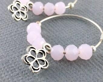 Sterling silver hoops, Pink silver earrings, Bridesmaids earrings, Sterling silver hoop earrings, Crystal beads silver hoop earrings