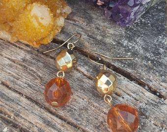 Orange and Gold Beaded Dangle Earrings