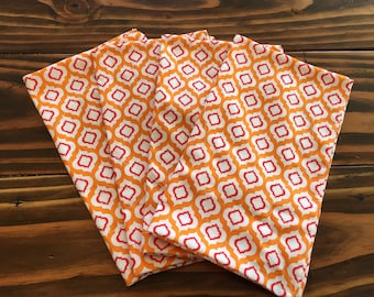 Set of four, 9x11, handcrafted, quilted, double sided, thick dinner napkins