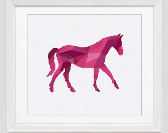 Horse cross stitch pattern, horse counted cross stitch pattern, modern horse cross stitch pattern