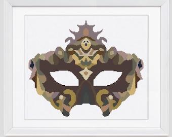Modern cross stitch pattern, Vanetian mask cross stitch pattern, carnival mask counted cross stitch pattern