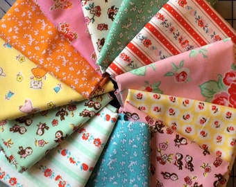 Riley Blake Milk Sugar & Flower FQ Fabric Bundle of 12 for 26.00 - Half Yard Bundle for 48.00  - 1930's Reproduction Fabric