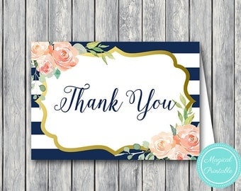 Navy Wedding Thank you cards, Foldable Thank you notes, Wedding Favor Cards, Shower Favors, Bridal Shower Thank you cards, Favors TH74 WI53